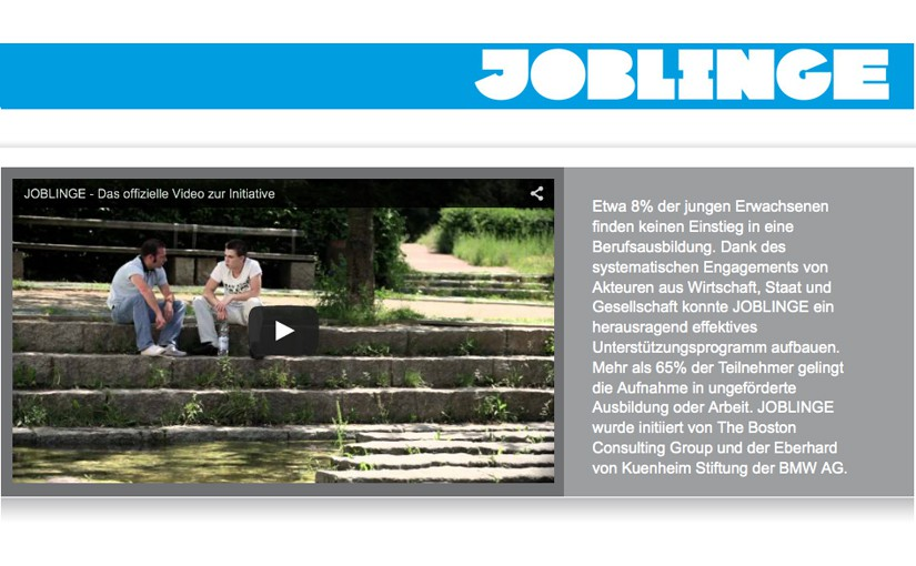 Joblinge Website - Screenshot