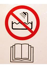 Föhn Symbole - Badewanne und Buch