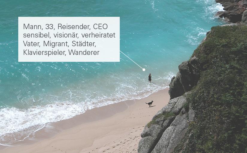 Ein Mann geht spazieren: Er ist 33, Reisender, CEO sensibel, visionär, verheiratet Vater, Migrant, Städter, Klavierspieler, Wanderer