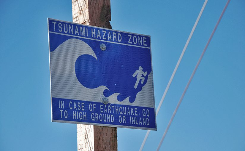 Tsunami Warnung: Anweisung was zu tun ist, wenn ein Trsunami droht.